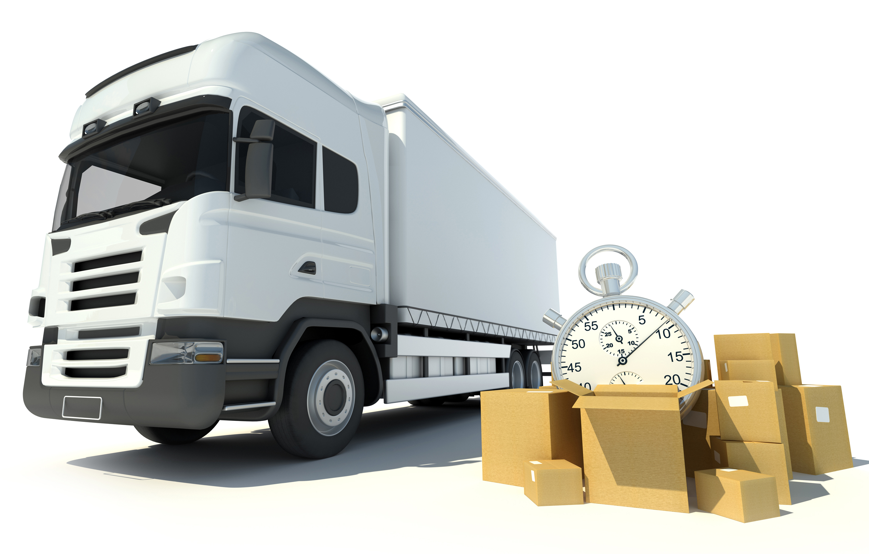 LTL truck, a pile of boxes and a chronometer